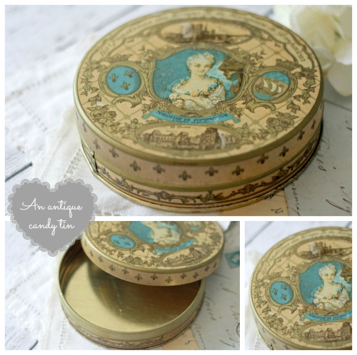french tin Collage with text