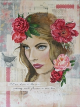 Flowers in her hair, 2013 Mixed media on board